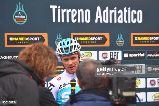 Start / Podium / Chris Froome of Great Britain / Press Media / during the 53rd TirrenoAdriatico 2018 Stage 4 a 219km stage from Follonica to Sarnano...