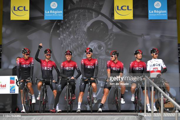 Start / Podium / Christopher Froome of Great Britain and Team INEOS / Vasil Kiryienka of Belarus and Team INEOS / Michal Kwiatkowski of Poland and...