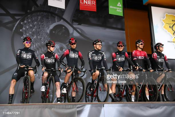 Start / Podium / Christopher Froome of United Kingdom and Team INEOS / Leonardo Basso of Italy and Team INEOS / Owain Doull United of Kingdom and...