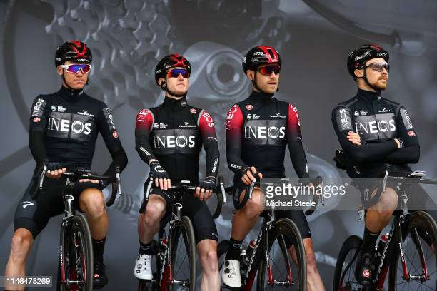 Start / Podium / Christopher Froome of United Kingdom and Team INEOS / Eddie Dunbar of Ireland and Team INEOS / Christopher Lawless of United Kingdom...