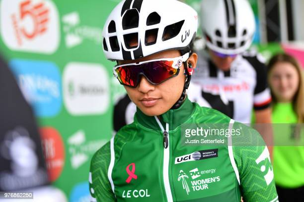 Start / Podium / Coryn Rivera of The United States and Team Sunweb Green Leader Jersey / during the 5th OVO Energy Women's Tour 2018 Stage 5 a 122km...