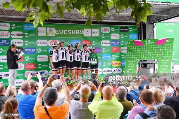 Start / Podium / Coryn Rivera of The United States Green Leader Jersey / Lucinda Brand of The Netherlands / Leah Kirchmann of Canada / Julia Soek of...