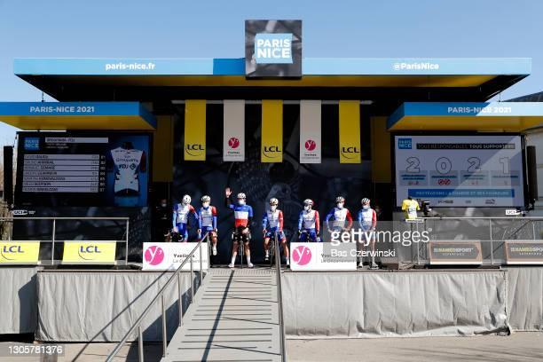 Start / Podium / David Gaudu of France, Bruno Armirail of France, Arnaud Demare of France, Jacopo Guarnieri of Italy, Ignatas Konovalovas of...
