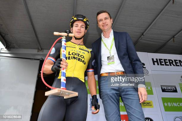 Start / Podium / Dylan Groenewegen of Netherlands and Team Lotto Nl - Jumbo / Prize / during the 14th BinckBank Tour 2018, Stage 1 a 177,3km stage...