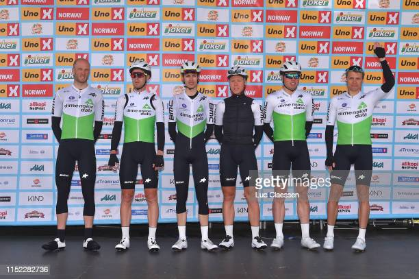 Start / Podium / Edvald Boasson Hagen of Norway and Team Dimension Data / Gino Mader of Switzerland and Team Dimension Data / Stephen Cummings of...
