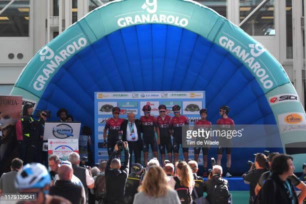 Start / Podium / Egan Bernal of Colombia and Team INEOS / Tao Geoghegan Hart of The United Kingdom and Team INEOS / Gianni Moscon of Italy and Team...