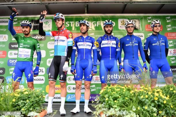 Start / Podium / Fernando Gaviria of Colombia / Julian Alaphilippe of France Green Leader Jersey / Bob Jungels of Luxembourg / Iljo Keisse of Belgium...