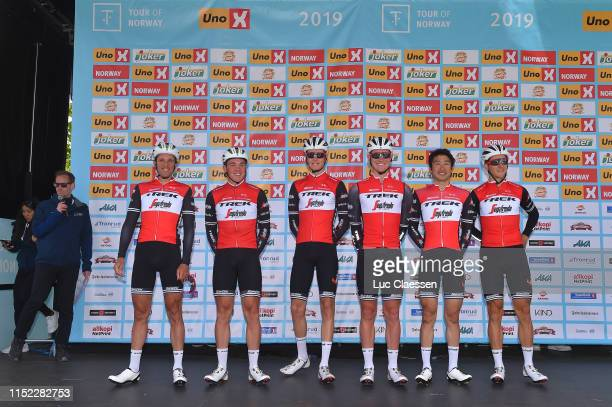 Start / Podium / Fumiyuki Beppu of Japan and Team TrekSegafredo / Koen De Kort of The Netherlands and Team TrekSegafredo / Alex Frame of New Zealand...