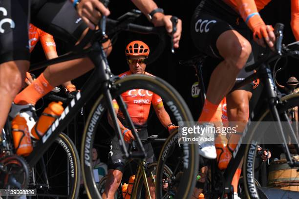 Start / Podium / Greg Van Avermaet of Belgium and CCC Team / Detail view / Bike / during the 62nd E3 Harelbeke 2019 a 203,9km race from Harelbeke to...