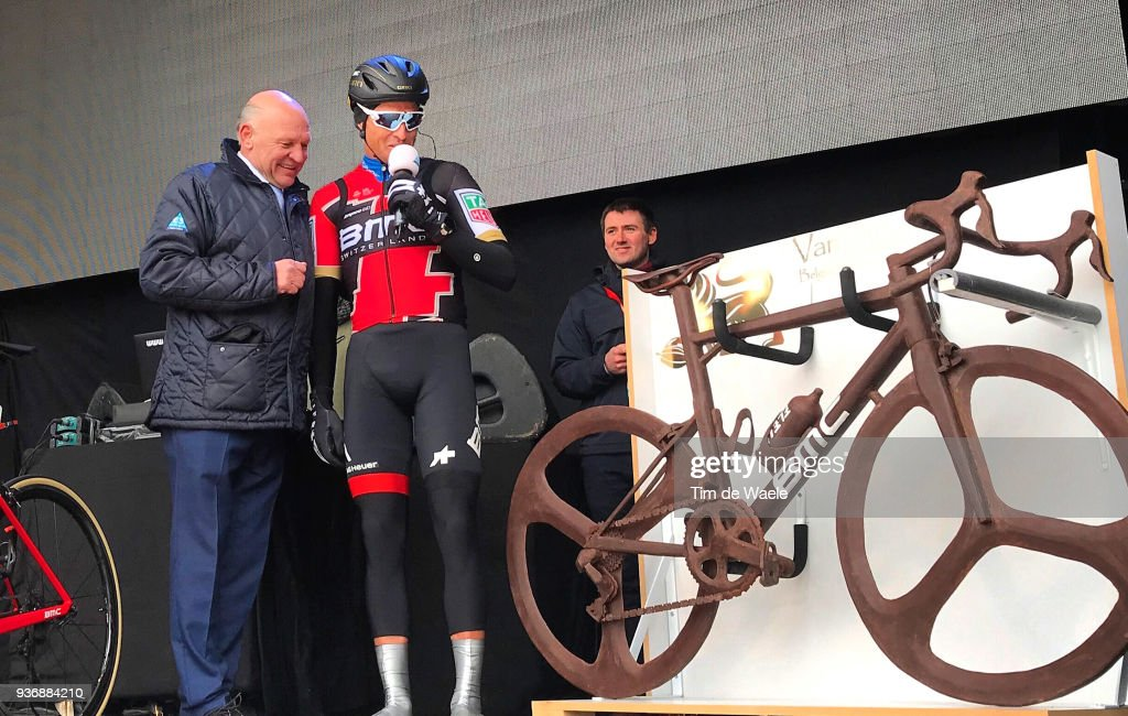 Start / Podium / Greg Van Avermaet of Belgium and Team BMC Racing Team / Chocolate BMC Bike / during the 61st E3 Harelbeke 2018 a 206,4km race from Harelbeke to Harelbeke on March 23, 2018 in Harelbeke, Belgium.