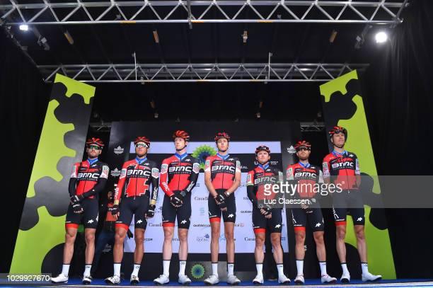 Start / Podium / Greg Van Avermaet of Belgium / Kilian Frankiny of Switzerland / Damiano Caruso of Italy / Simon Gerrans of Australia / Michael Schar...