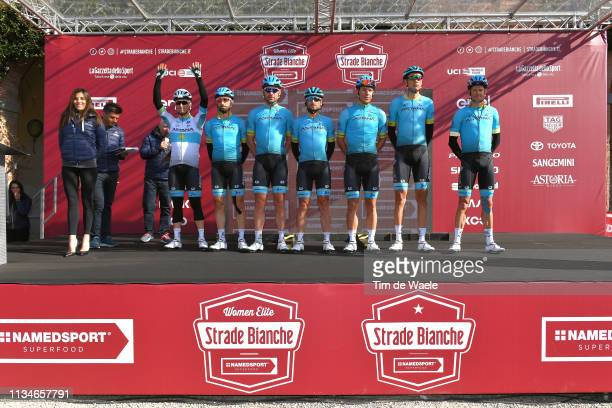 Start / Podium / Jakob Fuglsang of Denmark and Astana Pro Team / Davide Ballerini of Italy and Astana Pro Team / Zhandos Bizhigitov of Kazakhstan and...