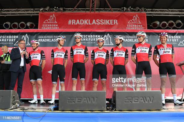 Start / Podium / John Degenkolb of Germany and Team TrekSegafredo / Nicola Conci of Italy and Team TrekSegafredo / Koen de Kort of The Netherlands...