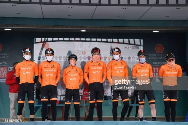 Start / Podium / Julen Irizar Laskurain of Spain, Garikoitz Bravo Oiarbide of Spain, Ibai Azurmendi Sagastibeltza of Spain, Peio Goikoetxea Goiogana...