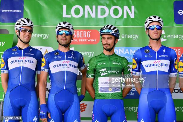 Start / Podium / Julian Alaphilippe of France Green Leader Jersey / Iljo Keisse of Belgium / Maximiliano Ariel Richeze of Argentina / Maximilian...