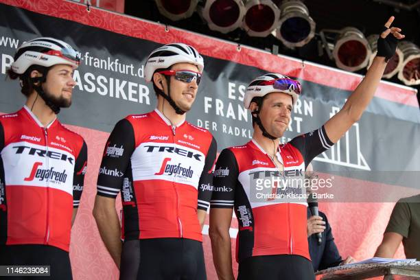 Start / Podium / Kiel Reijnen of The United States and Team TrekSegafredo / Michael Gogl of Austria and Team TrekSegafredo / Koen de Kort of The...