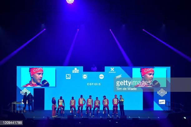 Start / Podium / Laurens De Vreese of Belgium and Astana Pro Team / Alex Aranburu Deba of Spain and Astana Pro Team / Fabio Felline of Italy and...