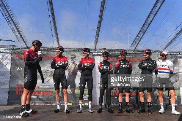 Start / Podium / Leonardo Basso of Italy and Team INEOS / Christopher Lawless of The United Kingdom and Team INEOS / Owain Doull of The United...