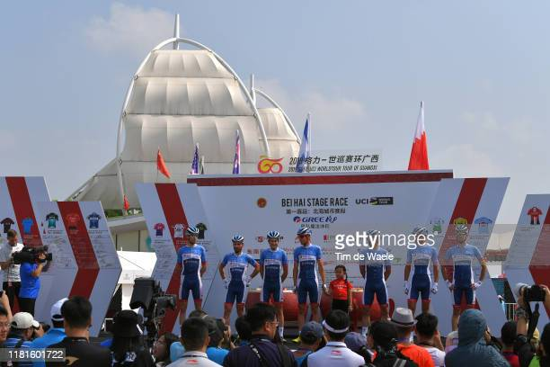 Start / Podium / Lilian Calmejane of France and Team Total Direct Energie / Jerome Cousin of France and Team Total Direct Energie / Jonathan Hivert...