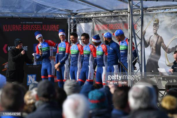 Start / Podium / Lorrenzo Manzin of France and Team Total Direct Energie / Florian Maitre of France and Team Total Direct Energie / Adrien Petit of...
