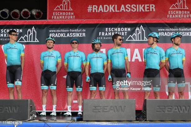 Start / Podium / Magnus Cort of Denmark and Team Astana Pro Team / Davide Ballerini of Italy and Team Astana Pro Team / Zhandos Bizhigitov of...