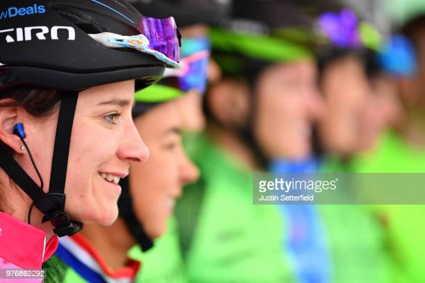 Start / Podium / Marianne Vos of The Netherlands and Waowdeals Pro Cycling Team Pink Breast Cancer Care Points Jersey / during the 5th OVO Energy...