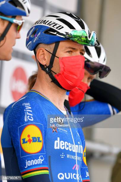 Start / Podium / Mark Cavendish of United Kingdom and Team Deceuninck - Quick-Step during the 19th Bredene Koksijde Classic 2021 a 199km race from...