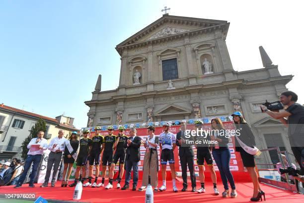 Start / Podium / Matteo Trentin of Italy and Team MitcheltonScott / Michael Albasini of Switzerland and Team MitcheltonScott / Robert Stannard of...