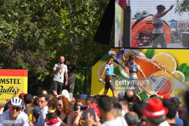 Start / Podium / Michael Cherel of France and Team AG2R La Mondiale / Peter Sagan of Slovakia and Team Bora - Hansgrohe / Fans / Public / during the...