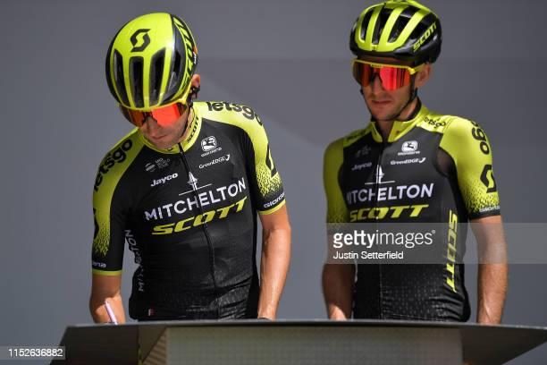 Start / Podium / Mikel Nieve of Spain and Team Mitchelton Scott / Simon Yates of United Kingdom and Team Mitchelton Scott / Signature / during the...