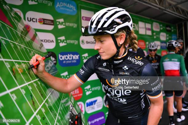 Start / Podium / Nicole Hanselmann of Switzerland and CerveloBigla Pro Cycling Team / during the 5th OVO Energy Women's Tour 2018 / Stage 2 a 1439km...