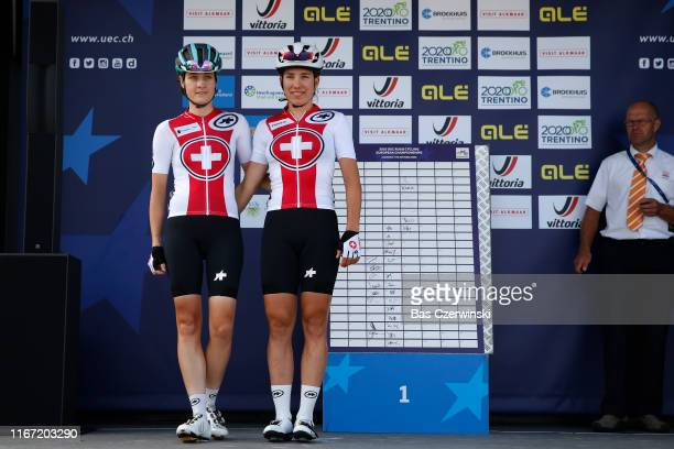 Start / Podium / Nicole Hanselmann of Switzerland / Andrea Waldis of Switzerland / during the 25th UEC Road European Championships 2019 Elite Women's...
