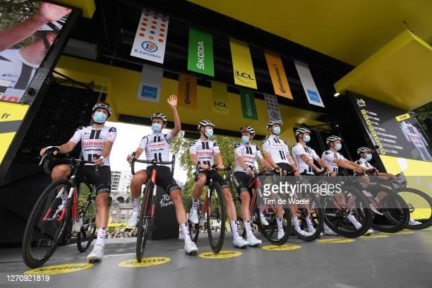 Start / Podium / Nikias Arndt of Germany, Tiesj Benoot of Belgium, Cees Bol of The Netherlands, Marc Hirschi of Switzerland, Soren Kragh Andersen of...