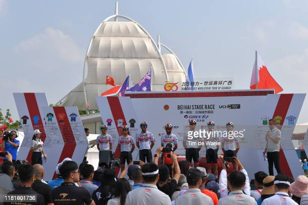 Start / Podium / Oliviero Troia of Italy and UAE - Team Emirates / Roberto Ferrari of Italy and UAE - Team Emirates / Fernando Gaviria of Colombia...