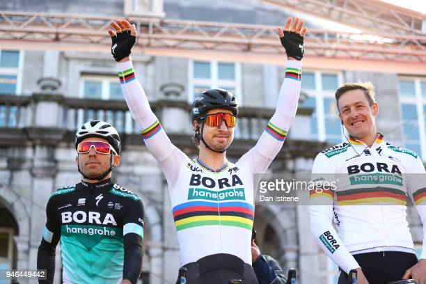 Start / Podium / Peter Sagan of Slovakia and Team BoraHansgrohe / Marcus Burghardt of Germany and Team BoraHansgrohe / during the 53rd Amstel Gold...