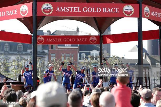 Start / Podium / Philippe Gilbert of Belgium and Team DeceuninckQuickStep / Remi Cavagna of France and Team DeceuninckQuickStep / Dries Devenyns of...