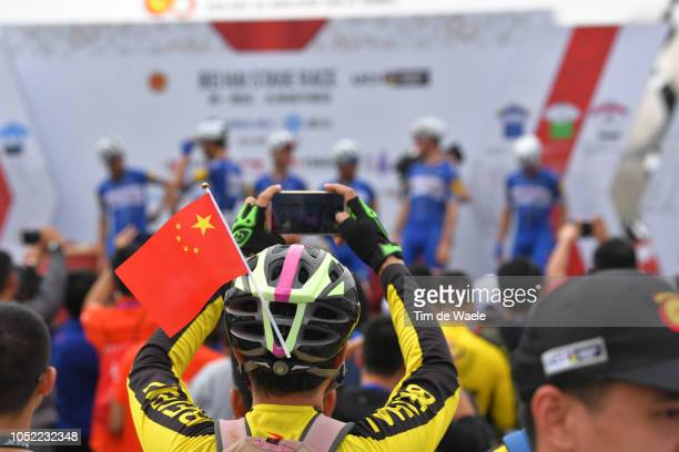 Start / Podium / Philippe Gilbert of Belgium and Team Quick-Step Floors / Davide Martinelli of Italy and Team Quick-Step Floors / Remi Cavagna of...