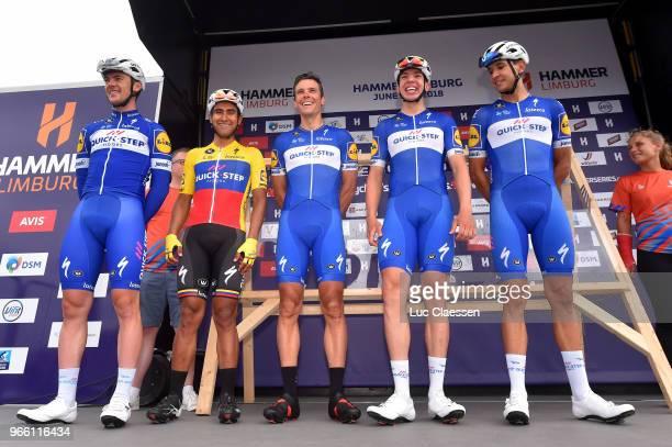 Start / Podium / Philippe Gilbert of Belgium and Team QuickStep Floors / Jhonatan Narvaez of Ecuador and Team QuickStep Floors / Yves Lampaert of...