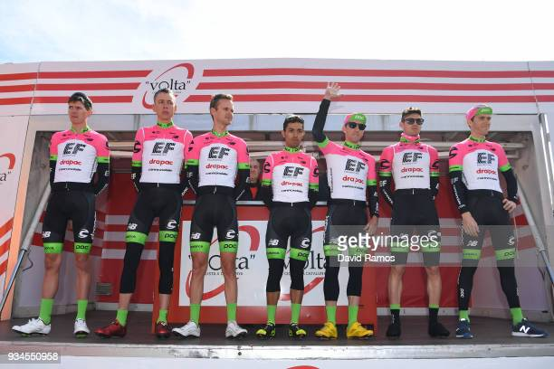 Start / Podium / Pierre Rolland of France / Michael Woods of Canada / Daniel Martínez of Colombia / Nathan Brown of The United States / Hugh Carthy...