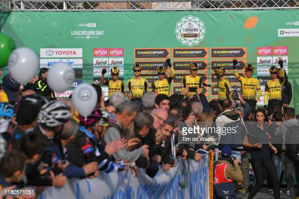 Start / Podium / Primoz Roglic of Slovenia and Team Jumbo-Visma / George Bennett of New Zealand and Team Jumbo-Visma / Koen Bouwman of The...