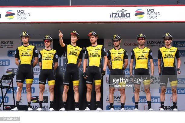 Start / Podium / Primoz Roglic of Slovenia / Enrico Battaglin of Italy / Sepp Kuss of The United States / Bert-Jan Lindeman of The Netherlands / Paul...