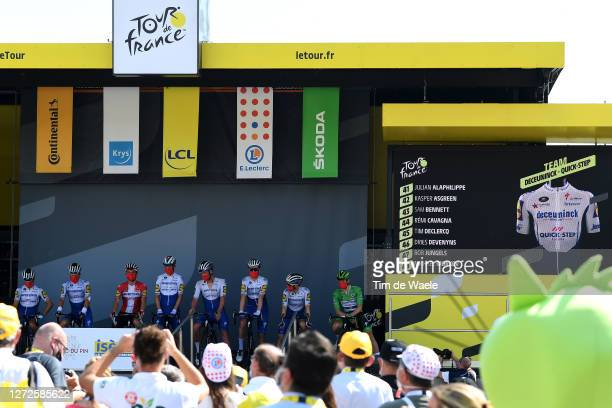 Start / Podium / Remi Cavagna of France Tim Declercq of Belgium Dries Devenyns of Belgium Bob Jungels of Luxembourg Michael Morkov of Denmark Sam...