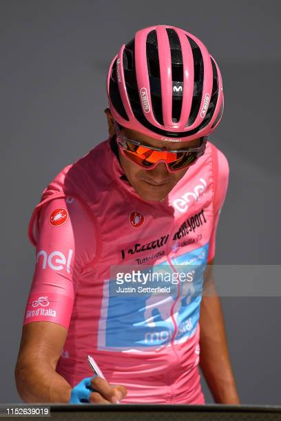 Start / Podium / Richard Carapaz of Ecuador and Movistar Team Pink Leader Jersey / Signature / during the 102nd Giro d'Italia 2019, Stage 18 a 222km...