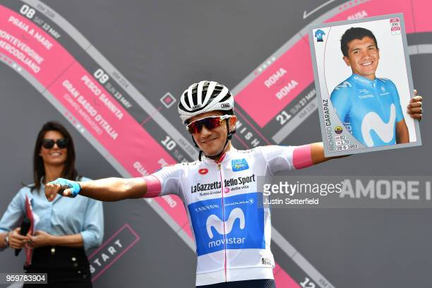 Start / Podium / Richard Carapaz of Ecuador and Movistar Team White Best Young Rider Jersey / during the 101st Tour of Italy 2018, Stage 13 a 180km...