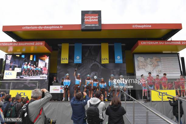 Start / Podium / Romain Bardet of France and Team AG2R La Mondiale / Mickael Cherel of France and Team AG2R La Mondiale / Benoit Cosnefroy of France...