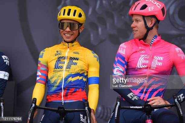 Start / Podium / Sergio Andres Higuita of Colombia and Team Ef Education First / Lawson Craddock of The United States and Team Ef Education First /...