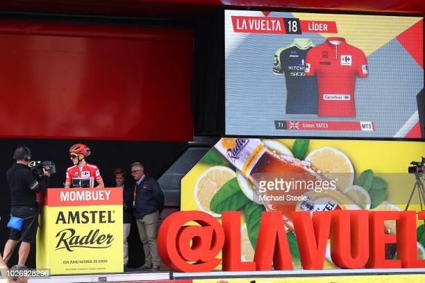 Start / Podium / Simon Yates of Great Britain and Team Mitchelton-Scott Red Leader Jersey / during the 73rd Tour of Spain 2018, Stage 11 a 207,8km...