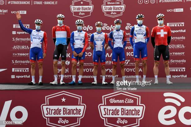 Start / Podium / Stefan Kung of Switzerland, Kevin Geniets of Luxembourg, Simon Guglielmi of France, Tobias Ludvigsson of Sweden, Valentin Madouas of...