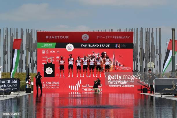 Start / Podium / Tadej Pogacar of Slovenia Red Leader Jersey, Mikkel Bjerg of Denmark, Davide Formolo of Italy, Fernando Gaviria Rendon of Colombia,...