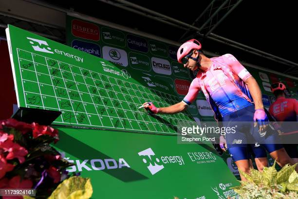 Start / Podium / Tanel Kangert of Estonia and EF Education First Pro Cycling / Signature / during the 16th Tour of Britain 2019, Stage 5 a 174,1km...
